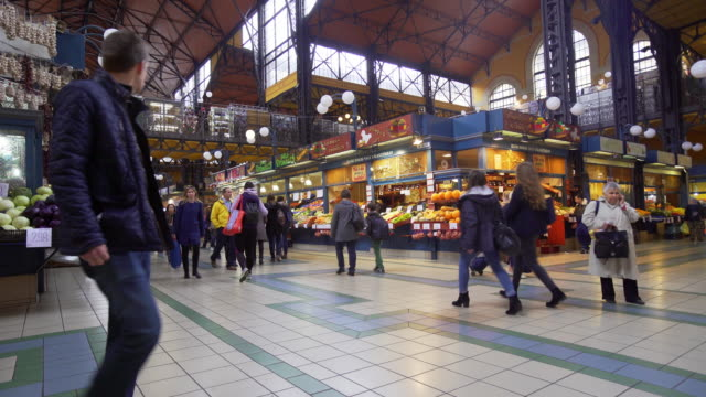 budapest great market hall (central market hall) inside - budapest stock videos & royalty-free footage
