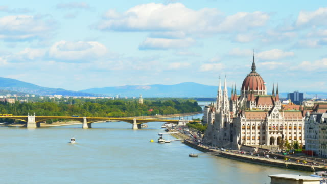 budapest hungarian parliament building and margaret island - river danube video stock e b–roll