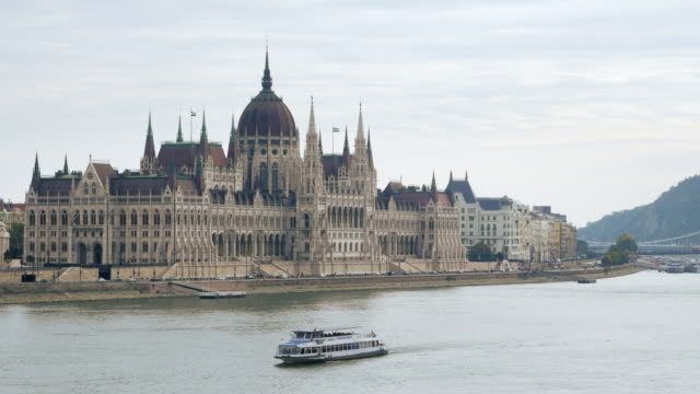 budapest hungarian parliament building on danube river - budapest stock videos & royalty-free footage