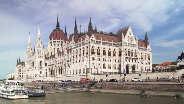 Budapest Hungarian Parliament Building Viewed From Tourboat