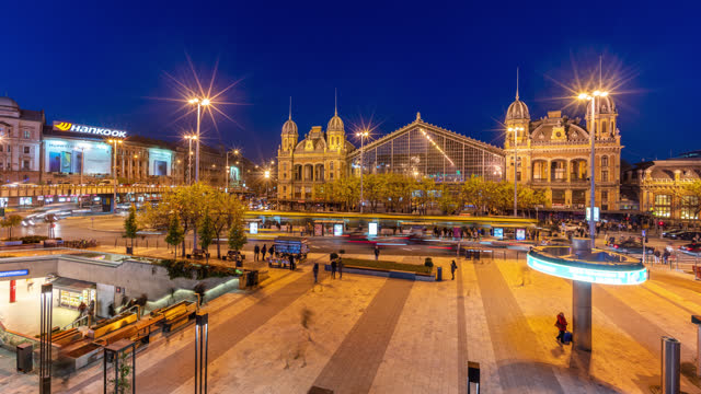 budapest hungary timelapse showing nyugati train station and tram line - hungary stock videos & royalty-free footage