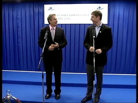 budapest tony blair mp at press conference at progressive governance conference with hungarian pm ferenc gyurcsany zoom in clean feed tape = d0509313... - eastern european culture stock videos & royalty-free footage