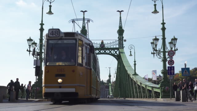 Budapest Liberty bridge with tram