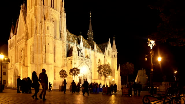 budapest matthias church at night - eastern european culture stock videos and b-roll footage