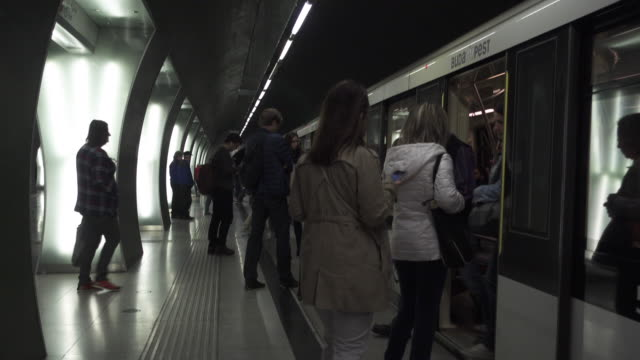 Budapest Metro station. Underground Subway Line 4
