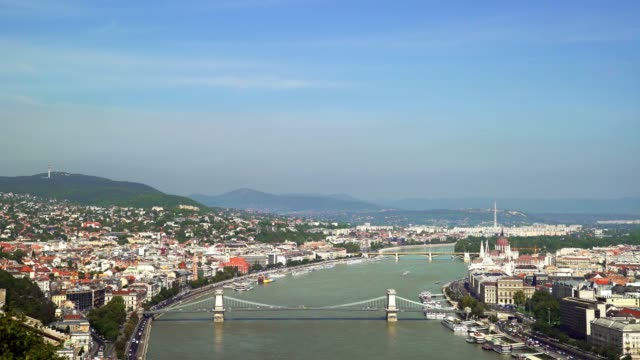 budapest panorama with chain bridge - budapest stock videos & royalty-free footage