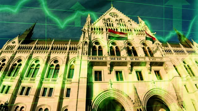 budapest parliament building scene with positive growth chart and graph data. concept piece to indicate improving tourism, gdp, stock market crash, recession, depression, inflation, deflation, bull market, good national economic and business performance - bull market stock videos & royalty-free footage