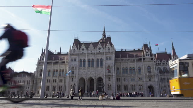 budapest parliament of hungary - tram point of view stock videos and b-roll footage