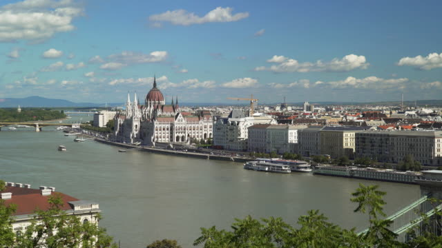 budapest pest riverbank skyline - budapest stock videos & royalty-free footage