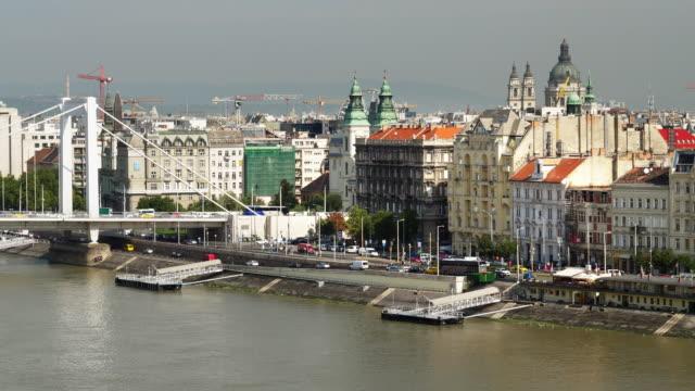 Budapest Pest Riverside and Elisabeth Bridge