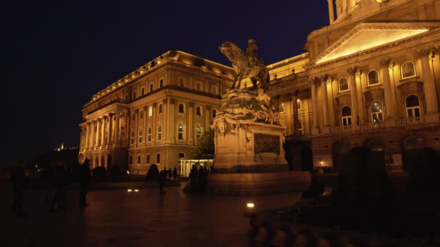 budapest royal palace and monument of prince eugene of savoy - royal palace of buda stock videos & royalty-free footage