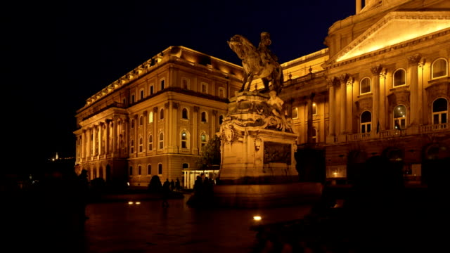 budapest royal palace of buda at night - royal palace of buda stock videos & royalty-free footage