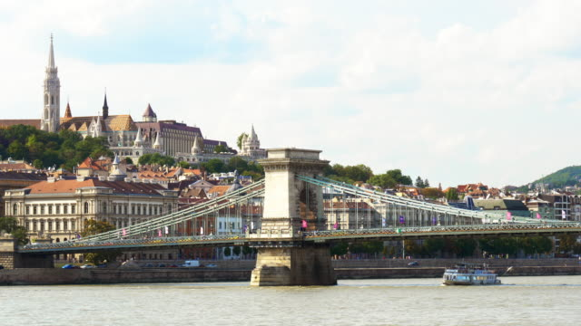 budapest royal palace of buda on buda castle hill - széchenyi chain bridge stock videos and b-roll footage