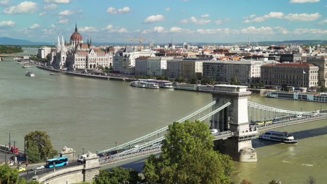 budapest skyline and chain bridge in late summer - chain bridge suspension bridge stock videos & royalty-free footage