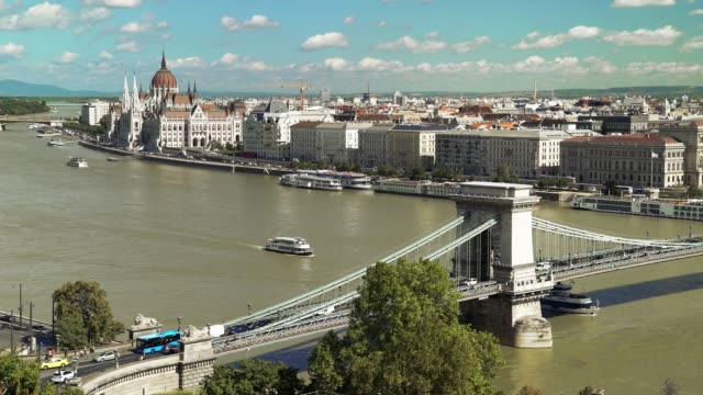 budapest skyline in late summer - széchenyi chain bridge stock videos & royalty-free footage