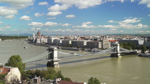 Budapest Skyline With Chain Bridge And Pest Riverside