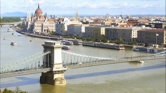 budapest skyline with chain bridge and the parliament building - széchenyi chain bridge stock videos and b-roll footage