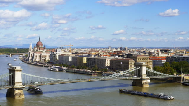 budapest skyline with chain bridge and the parliament - river danube stock videos & royalty-free footage