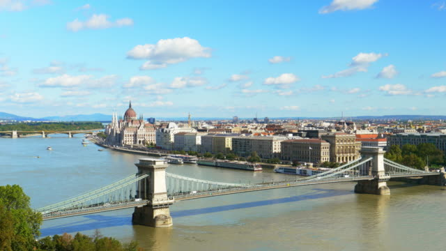 budapest skyline with chain bridge and the parliament - széchenyi chain bridge stock videos and b-roll footage