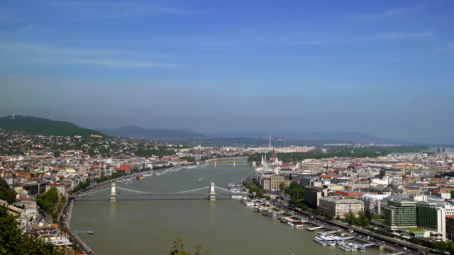 budapest skyline with chain bridge - budapest stock videos & royalty-free footage