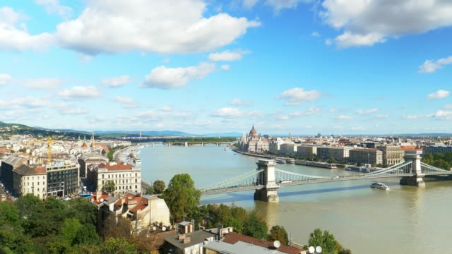 budapest skyline with chain bridge - river danube stock videos & royalty-free footage
