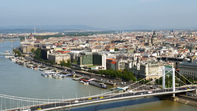 Budapest Skyline With Elisabeth Bridge And The Parliament Building