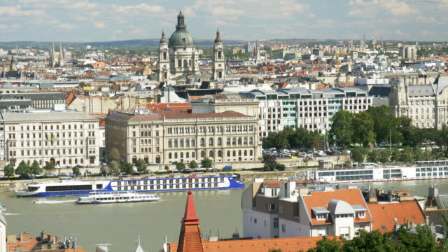 budapest skyline with st. stephen's basilica - budapest stock videos & royalty-free footage