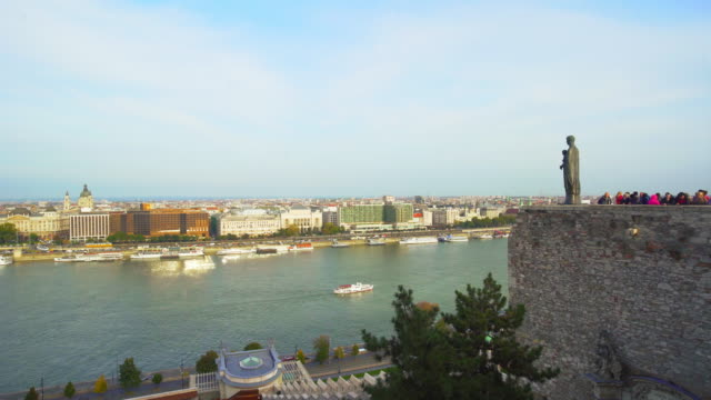 budapest tourists viewing pest skyline from buda castle hill - castle hill budapest stock videos and b-roll footage
