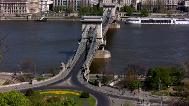 budapest (hd) - chain bridge suspension bridge stock videos and b-roll footage