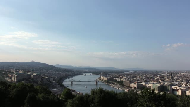 t/l budapest view down danube river - chain bridge suspension bridge stock videos & royalty-free footage