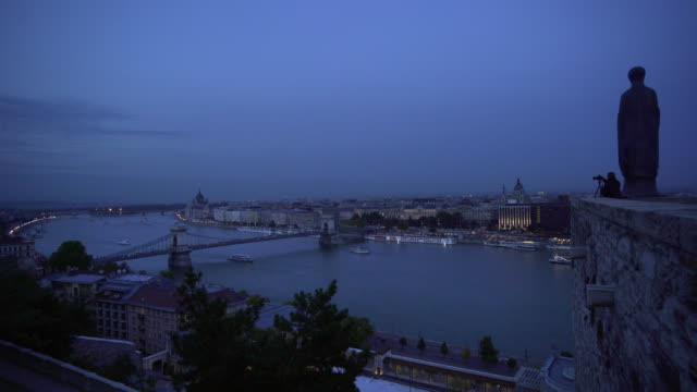 budapest viewed from buda castle hill at the blue hour - royal palace of buda stock videos & royalty-free footage