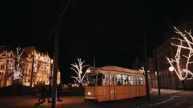 budapest with parliament building at night during the winter days with. christmas light decorations - traditionally hungarian stock videos & royalty-free footage