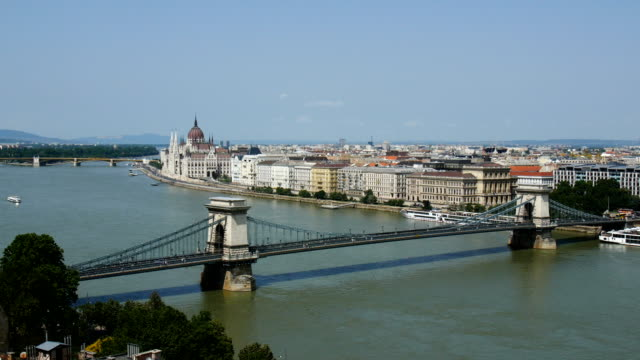 budapest - with the danube river, chain bridge, hungarian parliament building. view from buda castle - royal palace of buda stock videos & royalty-free footage