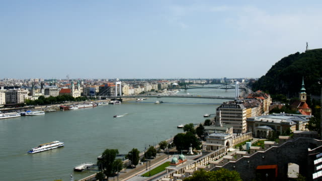 budapest - with the danube river. view from buda castle - royal palace of buda stock videos & royalty-free footage