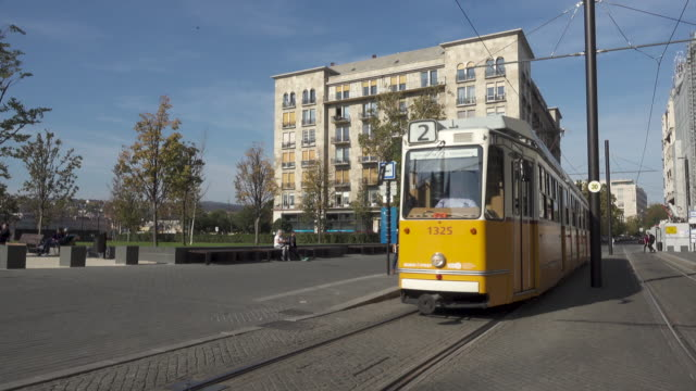 Budapest yellow old tram