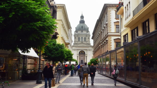 budapest zrínyi utca and st. stephen's basilica - budapest stock videos & royalty-free footage