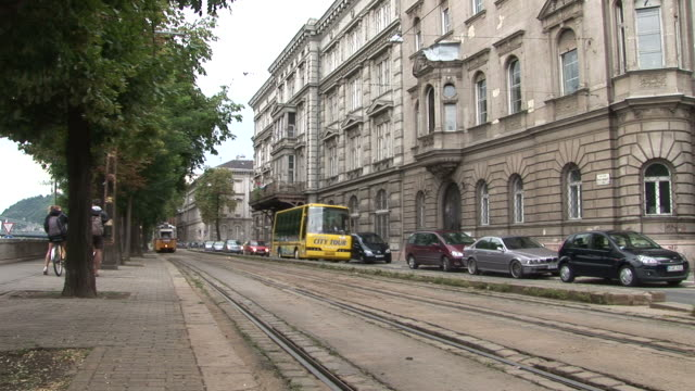 budapesta tram passing in the street of budapest hungary - traditionally hungarian stock videos & royalty-free footage