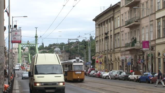 budapestcity street in budapest hungary - liberty bridge budapest stock videos & royalty-free footage