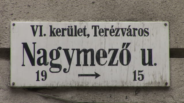budapestclose view of a signboard in budapest hungary - traditionally hungarian stock videos & royalty-free footage
