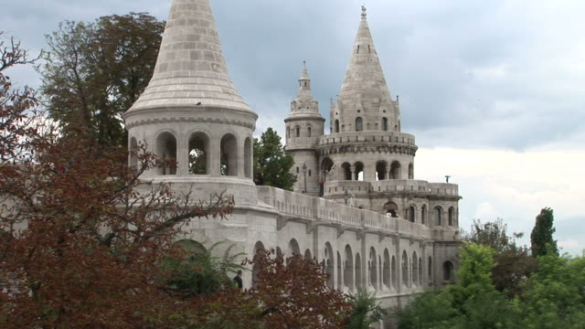 stockvideo's en b-roll-footage met budapestclose view of fishermen's bastion in budapest hungary - traditionally hungarian