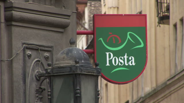 budapestclose view of posta signboard in budapest hungary - traditionally hungarian stock videos & royalty-free footage