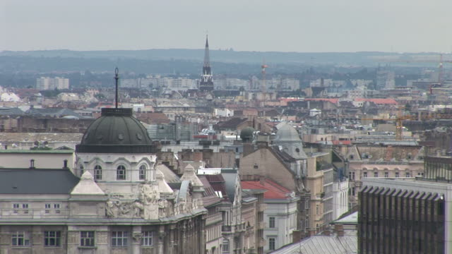 stockvideo's en b-roll-footage met budapestlong view of old town in budapest hungary - traditionally hungarian
