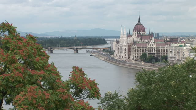 budapestlong view of parliament house in budapest hungary - traditionally hungarian stock videos & royalty-free footage