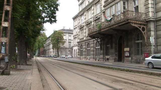 stockvideo's en b-roll-footage met budapestview of a street in budapest hungary - traditionally hungarian