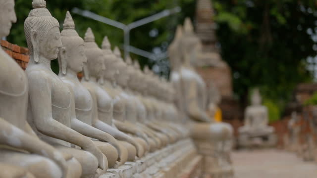 buddha statue in ayutthaya thailand. - ayuthaya province stock videos and b-roll footage