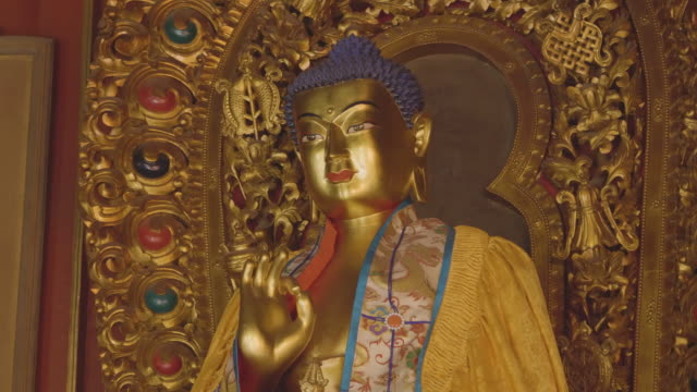 ms buddha statue inside of yonghe temple, beijing, china - lamasery stock videos and b-roll footage
