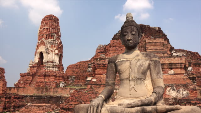 Buddha statue sitting in meditation in the ruins of Wat Mahathat in Ayutthaya, Thailand