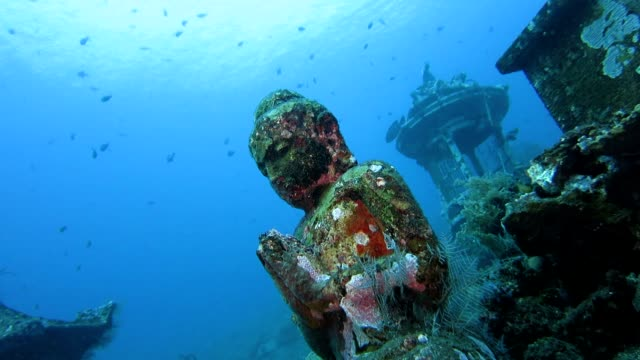 buddha statue underwater - sculpture stock videos & royalty-free footage