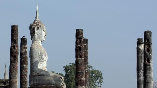 MS ZO WS Buddha Statues at Ruins of Wat at Historical Park of old Sukhothai, Thailand