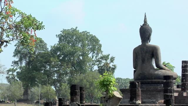 MS PAN Buddha Statues at Ruins of Wat Mahathat at Historical Park of old Sukhothai, Thailand